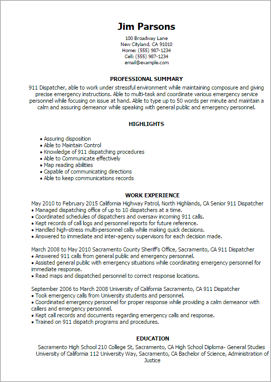 dispatcher resume with no experience