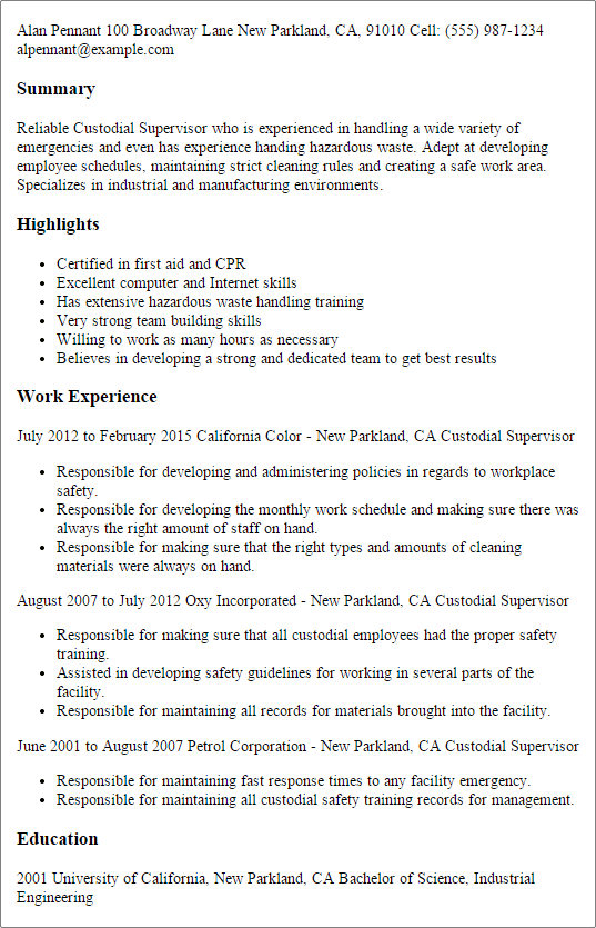 resume janitorial examples