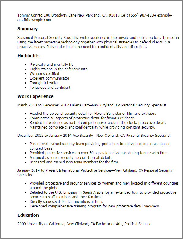 personnel security resume examples