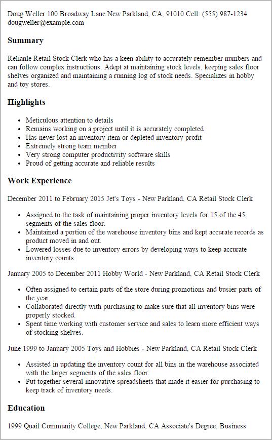 stock boy resume