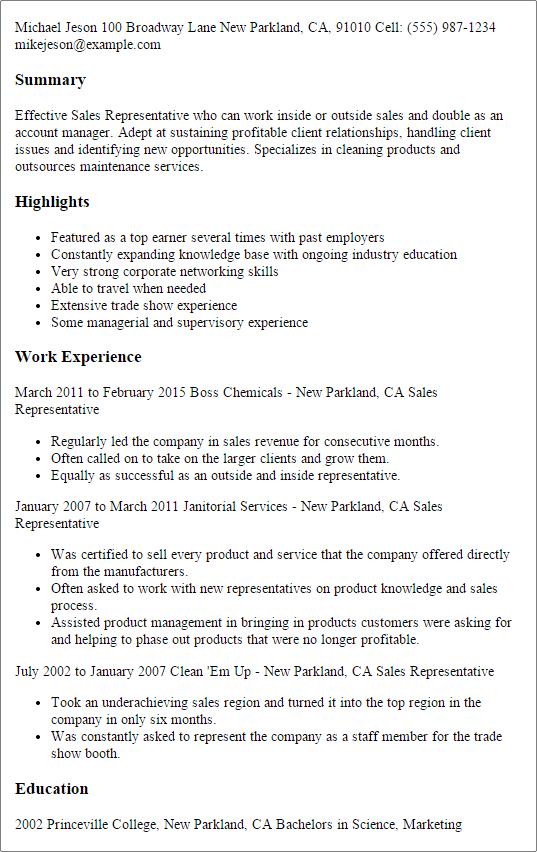 sales representative resume