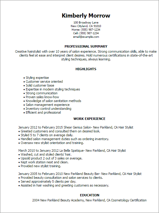hairstyle resume examples
