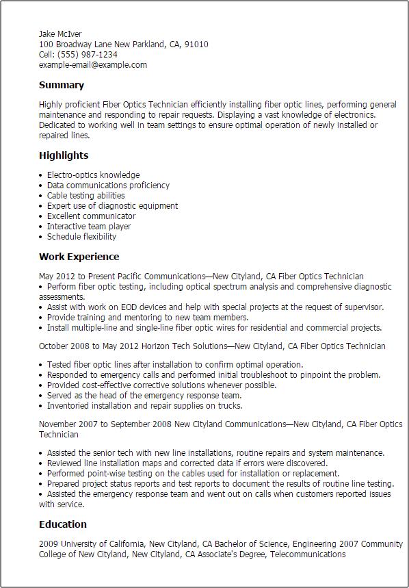 sample resume for fiber optic technician