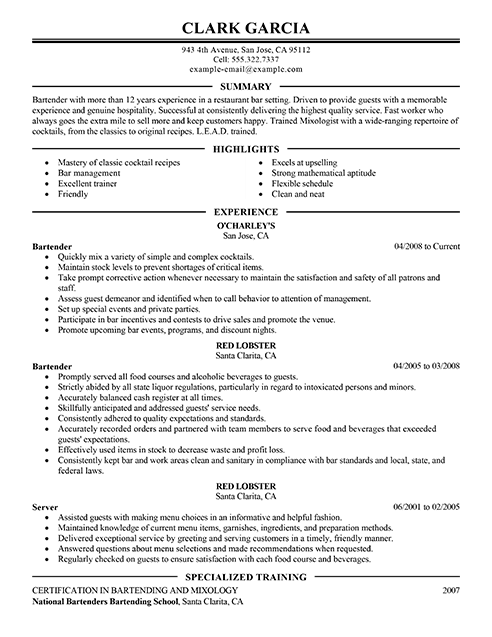Best Restaurant Bartender Resume Example LiveCareer