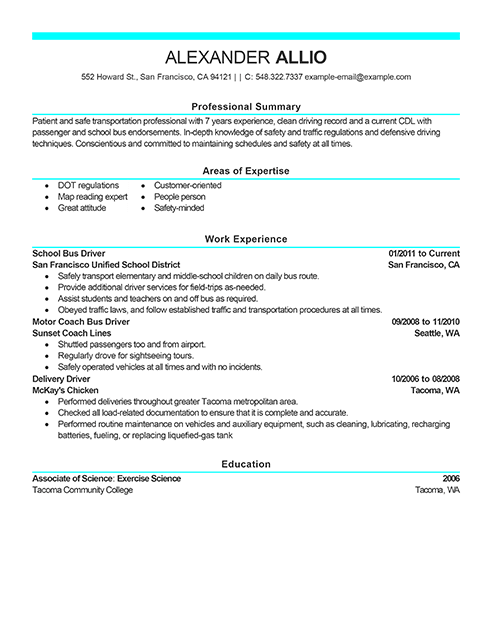 tourist bus driver resume sample