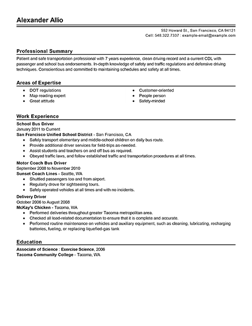 Best Bus Driver Resume Example LiveCareer
