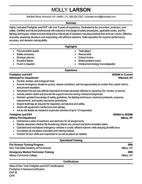fireman resume example