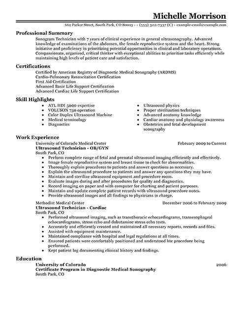 sample resume for ultrasound student
