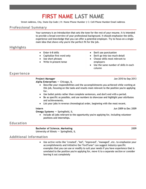 Emphasis CV Template and Writing Guidelines LiveCareer