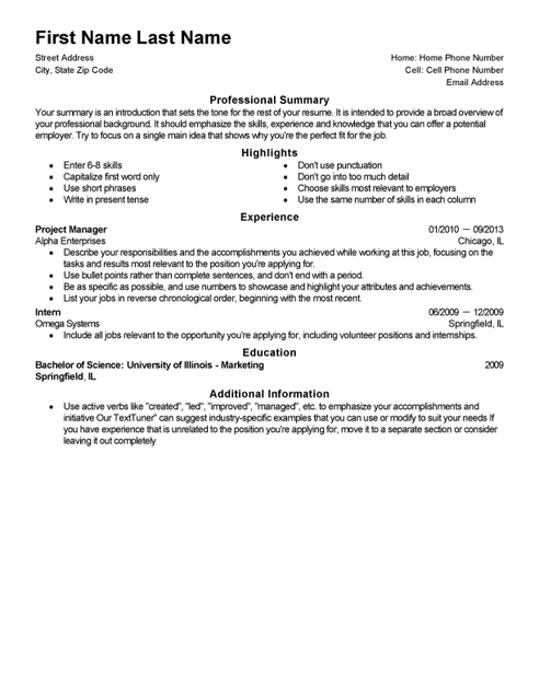 Space Saver CV Template and Writing Guidelines LiveCareer