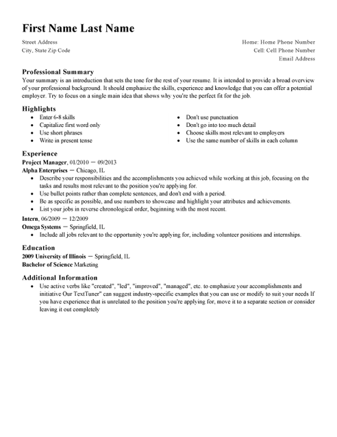 Standard CV Template and Writing Guidelines LiveCareer - Resume Te