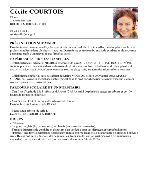exemple de synthese de presentation sur un cv