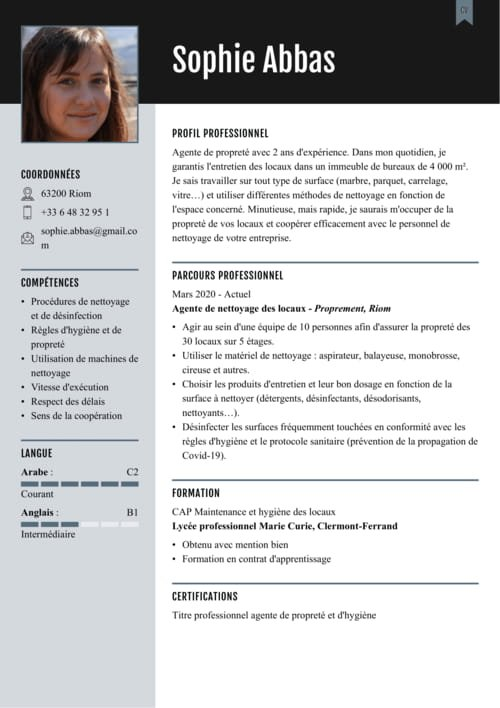 cv exemple pour du menage