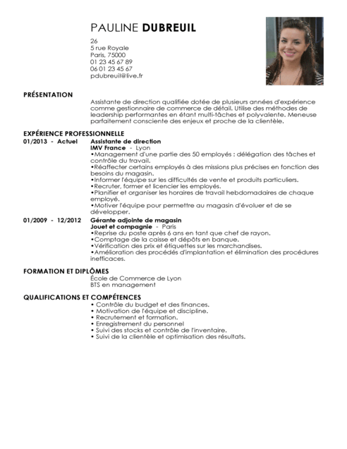 modele de cv direction magasin