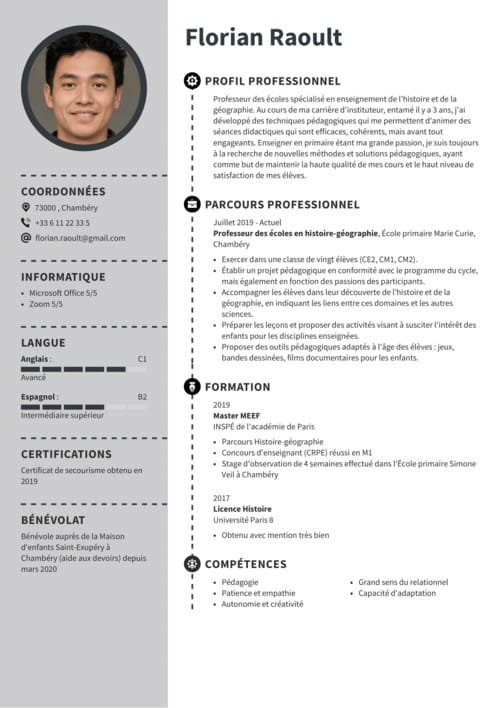 exemple cv pour devenir contractuel en math
