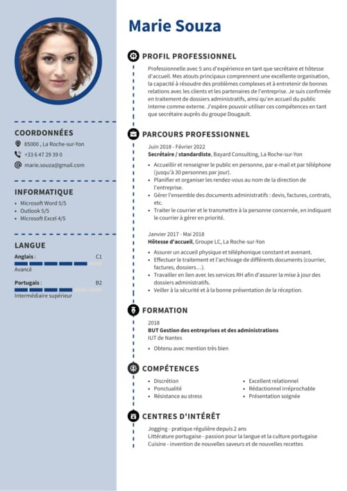cv exemple receptionniste