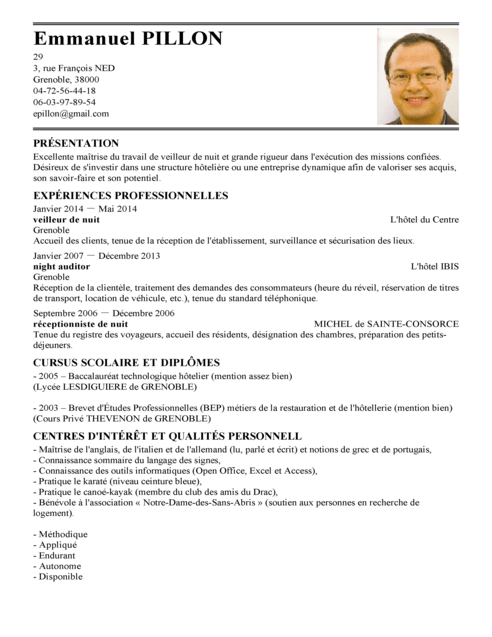 cv en ligne technicienne de surface