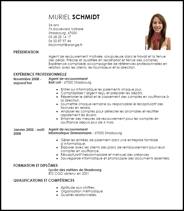 exemple de cv avec lettre de motivation