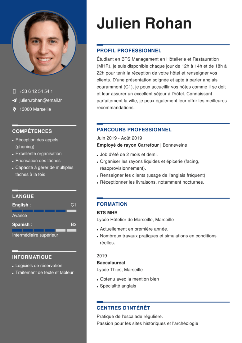 competences assistante manager cv