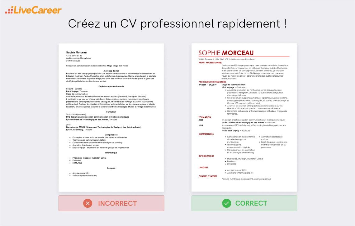 competences cv cuisiner