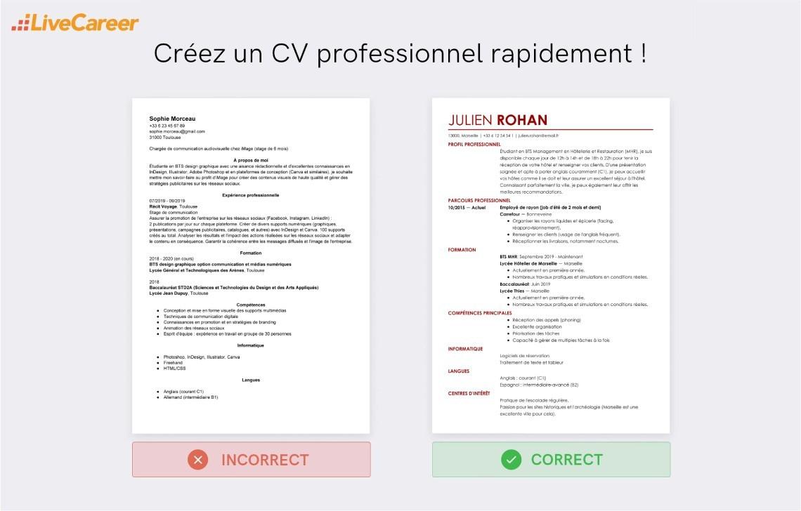 caracteristique professionnelle dans un cv