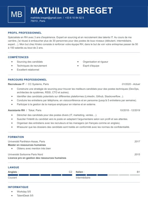 exemple cv responsable recrutement