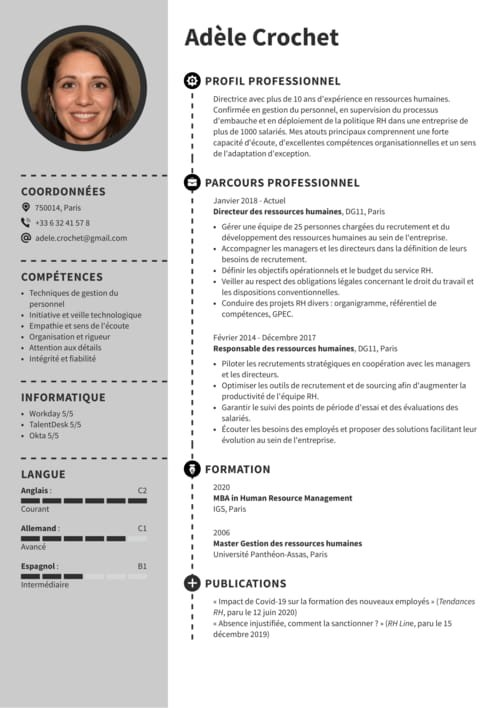 cv assistant manager restauration exemple