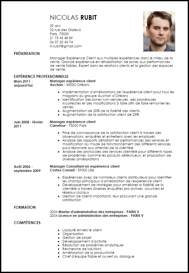 exemple de cv assistant manager