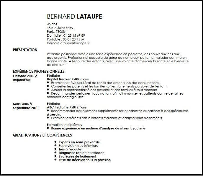 exemple de cv medecin pediatre