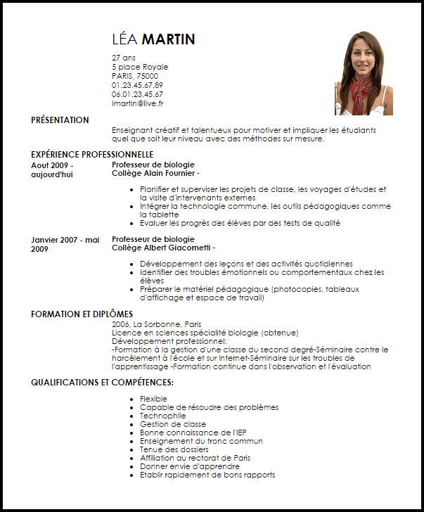 exemple de cv en cours de foramtion
