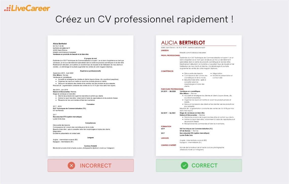 image modele cv manager restauration lettre de presentation