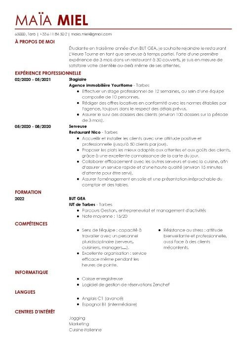 cv employe restauration rapide