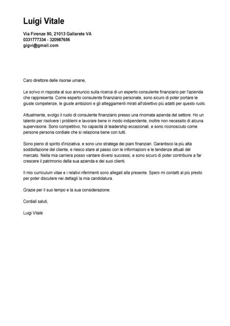 lettera di accompagnamento cv