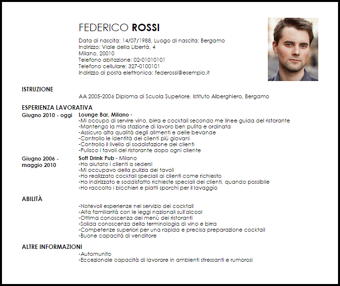 cocktail barman cv