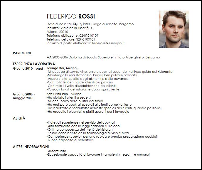 cocktail barman cv