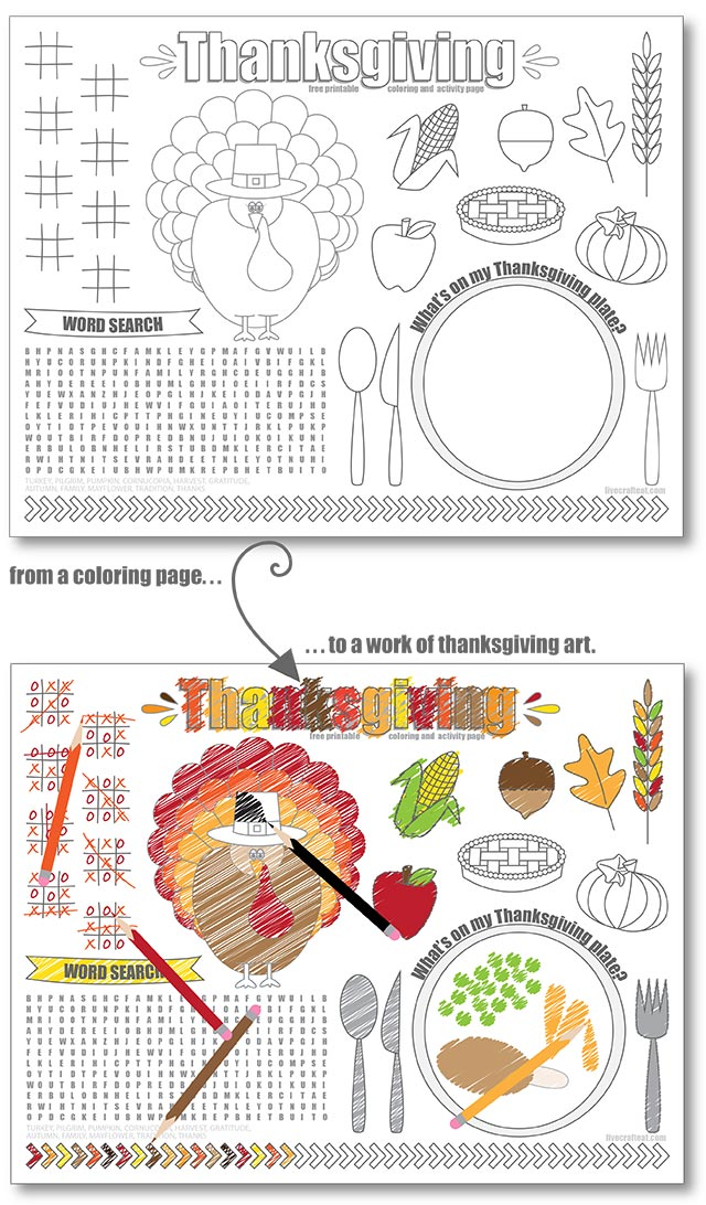Printable Thanksgiving Placemats For Kids - Free Live Craft Eat