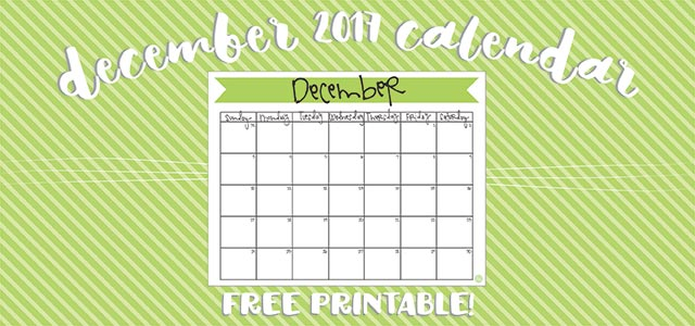 December 2017 Calendar - Free Printable Live Craft Eat - december monthly calender