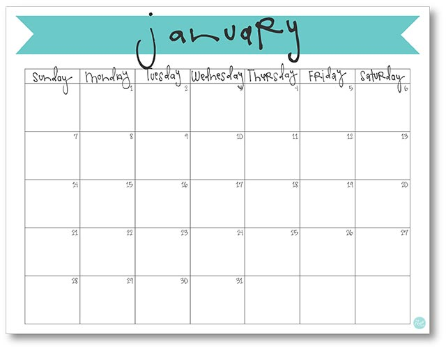 January 2018 Calendar - Free Printable Live Craft Eat