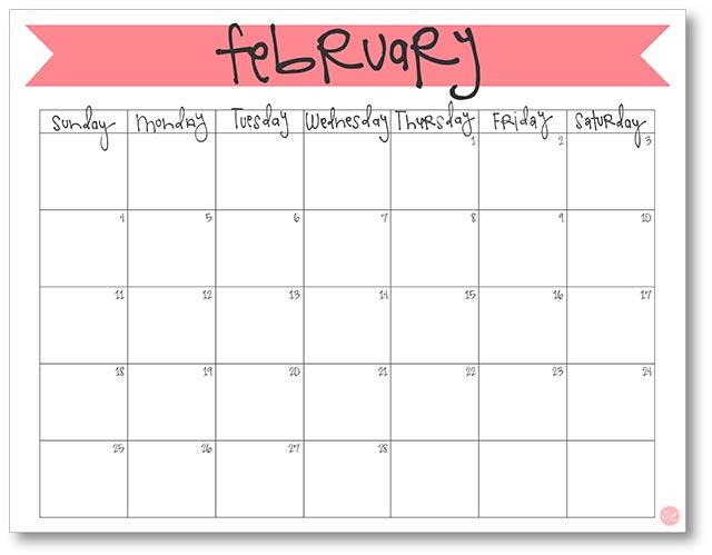February 2018 Calendar - Free Printable Live Craft Eat