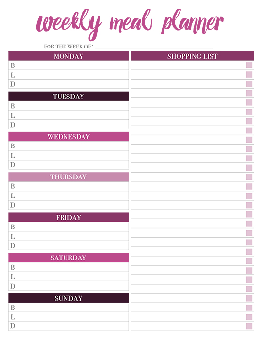 Printable Weekly Meal Planners - FREE Live Craft Eat - weekly dinner planner with grocery list