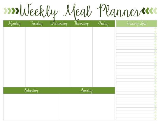 Printable Weekly Meal Planners - FREE Live Craft Eat - Printable Weekly Menu Planner With Grocery List