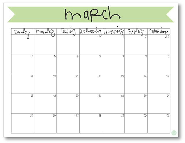 March 2018 Calendar - Free Printable Live Craft Eat