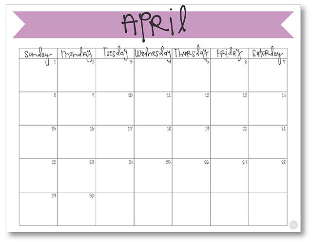 April 2018 Calendar - Free Printable Live Craft Eat