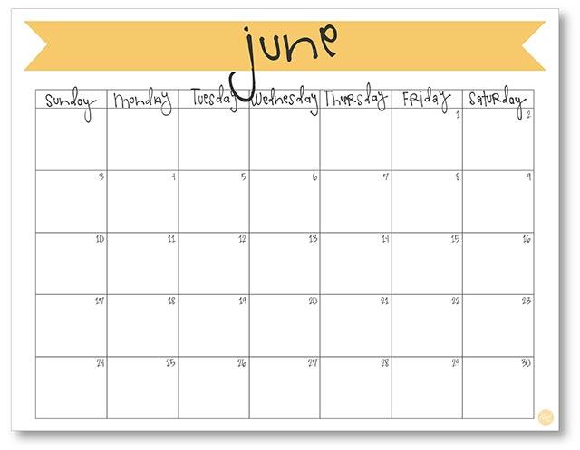June 2018 Calendar - Free Printable Live Craft Eat