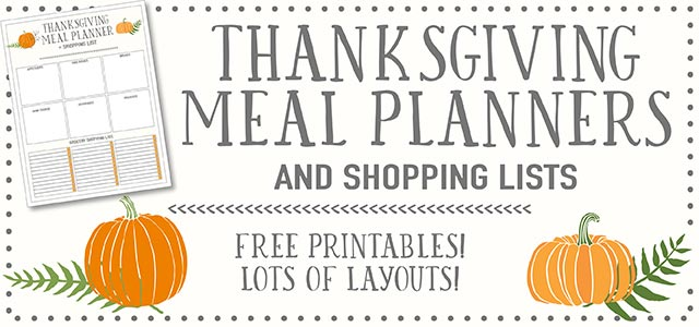 Thanksgiving Meal Planners  Shopping List Printables - FREE Live