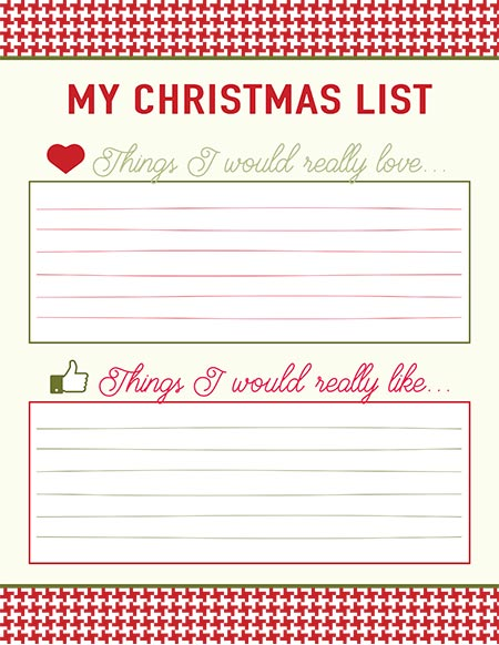 Printable Christmas List Templates Live Craft Eat