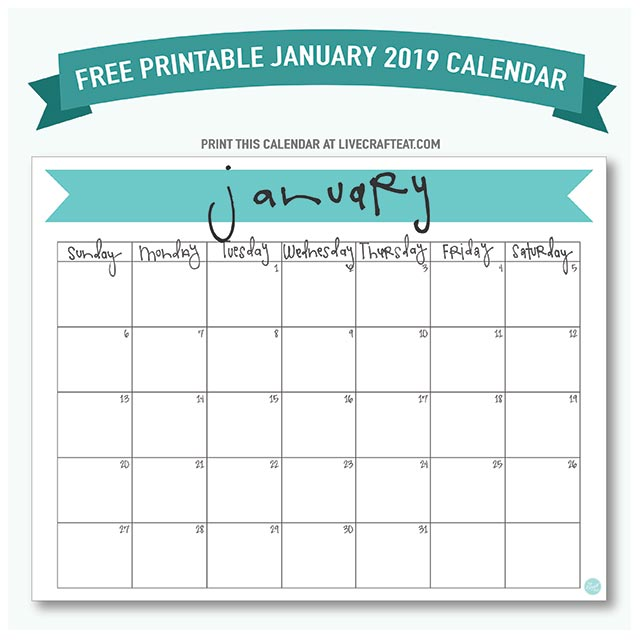 January 2019 Calendar - Free Printable Live Craft Eat