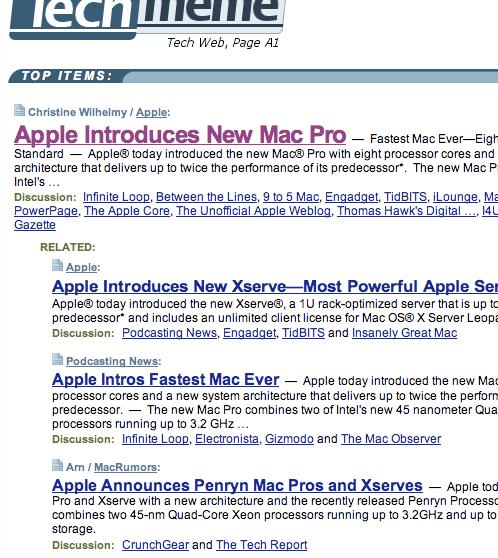Apple on Techmeme