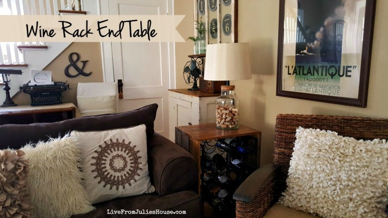 "Thrift Store Upcycle: Wine Rack End table - Are you a wine lover? Find out how I turned 10 thrift store wine racks into a very cool, custom-made ""wine crate"" end table for about 50 bucks."