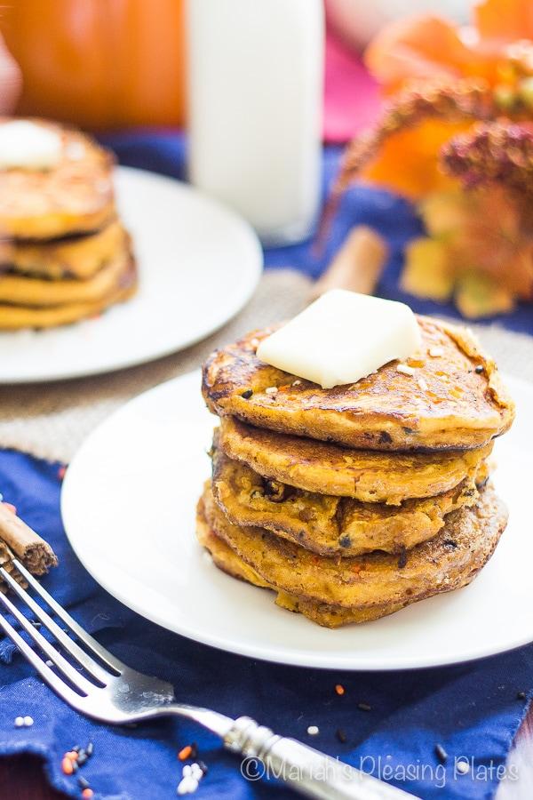 Cake Batter Pumpkin Pancakes